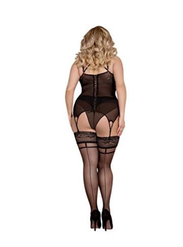 Ballerina 368 halterlose Strümpfe schwarz Stockings Damenstrümpfe Size Plus Übergröße , Größe:XL+ -