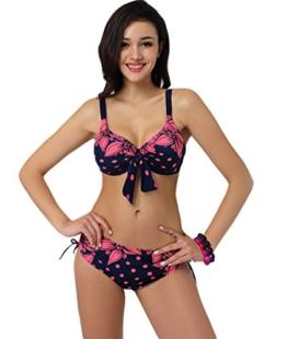 Baymate Damen Plus Size Bikini Set Elegant Bequem Badebekleidung Pink 3XL -