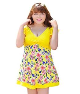 Baymate Damen Plus Size Blumen Freizeit Badeanzug Bademode Strand Badebekleidung Gelb 2XL -