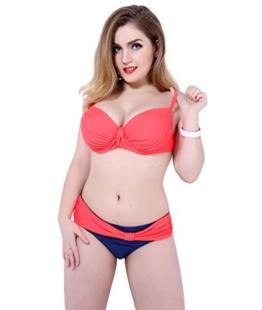 Baymate Damen Plus Size Klassisch Push-Up Bikini Set Bademode Badebekleidung Orange 3XL -