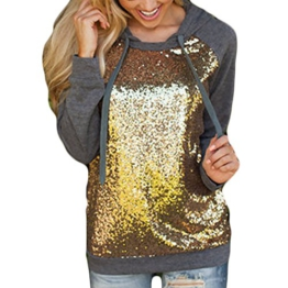 Daman Mode Pailletten nähen Langärmliges Rundkragen Hoodiestrickjacke Jacke Hoodie Kapuzenpullover Kapuzenjacke pulli (XL) -