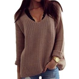Damen Pullover Casual Loose Langarm V-Ausschnitt Hohl Strickpulli Tops Einfarbig Sweater Grob Strick Oberteil Herbst Winter (EU 42-44(XL), Braun) -