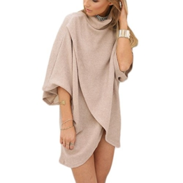 Damen Pullover Volltonfarbe Irregular 3/4-Arm Hohe-Ausschnitt Frauen Minikleid Strickkleider Oberteile Cardigan Tops (XL, Apricot) -