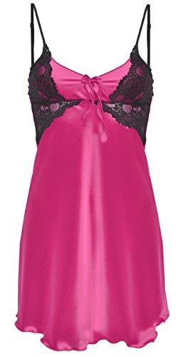 DKaren-Nachtwäsche Damen Negligee aus Satin LIWIA (XS – 2XL) (S, Pink) - 1