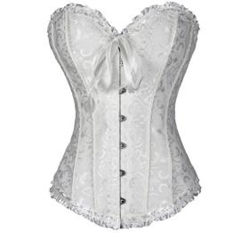 FeelinGirl Frauen Bridal Wäsche schnürt sich oben Satin ohne Knochen Korsett mit G-Schnur 3XL Weiß -