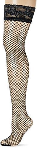 GLAMORY Damen Fischnetz Halterlose Netzstrümpfe Mesh, Schwarz (Schwarz), XXX-Large (Herstellergröße: 3XL-(56-58)) -