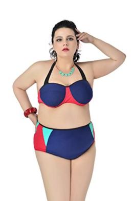 MissFox Damen Bikini Übergröße Hohe Taille Ausgeschnitten Badeanzüge Tankini (Marine,3XL) -