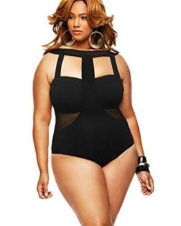 MissFox Damen Plus Größe Badeanzug Ein Stück Individualität Halfter Blumen Monokini Bademode (Schwarz,XXL) - 1