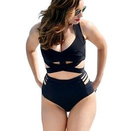 MissFox Damen Plus Größe Bikini Hohe Taille Riemchen Top Und Shorts Badeanzug Bademode (Schwarz,XXXL) -