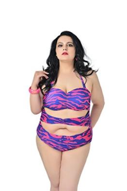 MissFox Plus Größe Damen Bikini Mode Ein Stück Blumen Baden Monokini Badeanzüge (Streifen,2XL) -