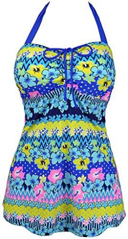 Mochoose Damen Tankinis Bikini Set Zweiteiler Halfter Drucken Bademode Swimsuit mit Bikinihosen Übergröße(Saphirblau,40-42) -