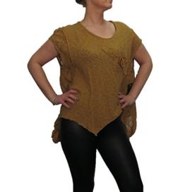 Mode für Mollige Blusenshirt von SARAH SANTOS Shirt mit Taschen senffarbend, Größe:XL -
