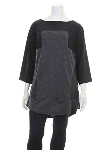 Pullover im Material-Mix in schwarz/grau in Übergrößen (L/XL) von mat -