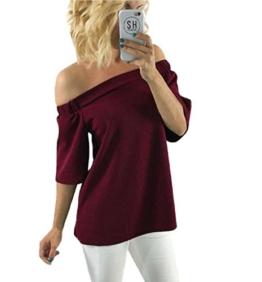 TOPUNDER Damen Schulterfreies Beiläufige Bluse Tops T-Shirt (XL, Rot) -