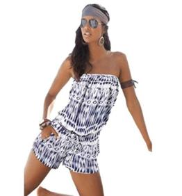 TOPUNDER Damen Schulterfreies Strand Sexy BH-Badeanzug-Bodysuit (XL, Blau) -