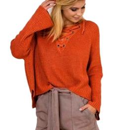 WOCACHI Damen Frauen Langarm Knit Long Top Pullover Stricken mit V-Ausschnitt lose beiläufige Pullover Orange (XL, Orange) -