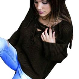 WOCACHI Damen Frauen Langarm Knit Long Top Pullover Stricken mit V-Ausschnitt lose beiläufige Pullover (XL, Armeegrün) -