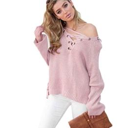 WOCACHI Damen Frauen Langarm Knit Long Top Pullover Stricken mit V-Ausschnitt lose beiläufige Pullover Rosa (XL, Rosa) -