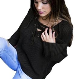 WOCACHI Damen Frauen Langarm Knit Long Top Pullover Stricken mit V-Ausschnitt lose beiläufige Pullover Schwarz (XL, Schwarz) -