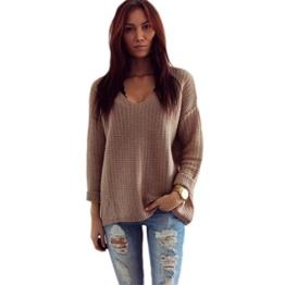 WOCACHI Damen Frauen Langarm-V-Neck Pullover Pullover Strickjacke lose Sweaters Mantel Jacke Braun (XL, Braun) -