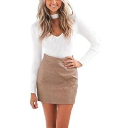 WOCACHI Damen Pullover Frauen Knit beiläufige Slim Fit Warm Lange Hülsen Pullover Outwear Tops Sweater Weiß (XL, Weiß) -