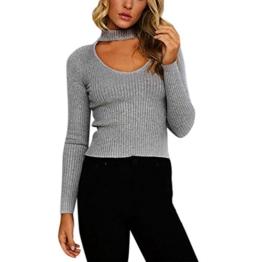 WOCACHI Damen Pullover Frauen Knit beiläufige Slim Fit Warm Lange Hülsen Pullover Outwear Tops Sweater Grau (XL, Grau) -