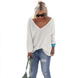 WOCACHI Damen Pullover Frauen Langarm-Strickpullover lose Strickjacke Pullover Sweater Tops Strick (XL, Weiß) -