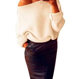 WOCACHI Damen Pullover Frauen weg von der Schulter Chunky Knit Gestrickte Maxi-Baggy Sweater Jumper Top Beige (XL, Beige) -