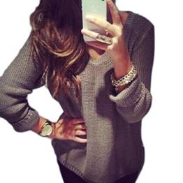 WOCACHI Damen Pullover Frauen Langarm-V-Neck Pullover Sweaters Strickjacke lose Strickjacke Mantel Jacke Grau (XL, Grau) -