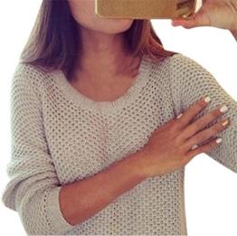WOCACHI Damen Pullover Frauen Langarm lose Strickjacke Strick pullover Sweater Strickwaren Woll Tops Beige (XL, Beige) -