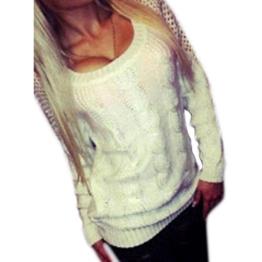 WOCACHI Damen Pullover Frauen Langarm-lose Strickjacke Strickpullover Backless Knitwear Outwear Mantel Weiß (XL, Weiß) -