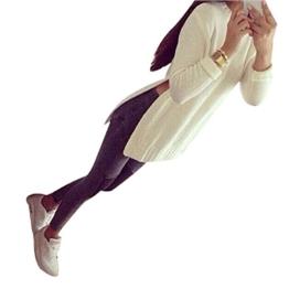 WOCACHI Damen Pullover Mode für Frauen Langarm Warm Strick pullover Sweater Cardigan Weiß (XL, Weiß) -