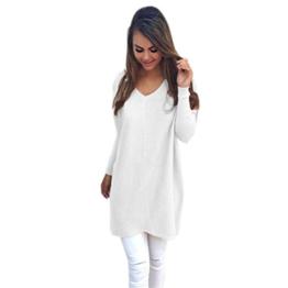 WOCACHI Damen Womens Casual Langarm-Pullover Sweaters Mantel Bluse Weiß (XL, Weiß) -