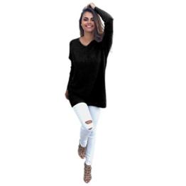 WOCACHI Damen Womens Casual Langarm-Pullover Sweaters Mantel Bluse Schwarz (XL, Schwarz) -